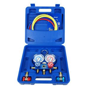 3 Way Manifold Vacuum Gauge Set R134a R410a R22 A c Ac Hvac Refrigeration Kit