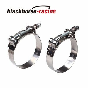 2pc For 1 1 2 Hose 1 73 2 01 301 Stainless Steel T Bolt Clamps 44mm 51mm