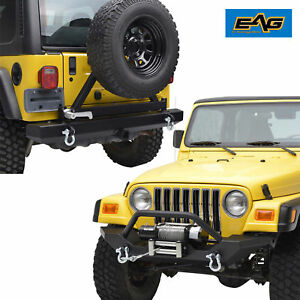 97 06 Jeep Wrangler Tj Front Bumper W Winch Plate Rear Bumper With Tire Carrier