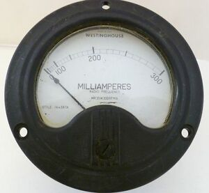 Westinghouse Meter Milliamperes Rf Style 1164387a Type Nt 35 Mr 35w300rfma Vtg
