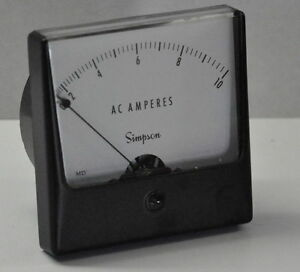 Simpson Panel Meter Ac Amperes Md 0 10 Box Template Oc 02 123 Oc D377 32 Nos
