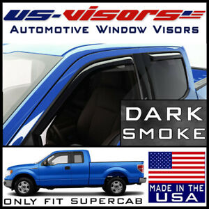 Us visors 2004 14 Ford F150 Supercab Window Vent Visors Rain Guards In channel