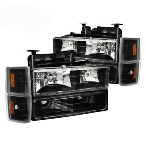 For 94 98 Chevy Silverado Tahoe Suburban Black Amber Headlights Turn Signals
