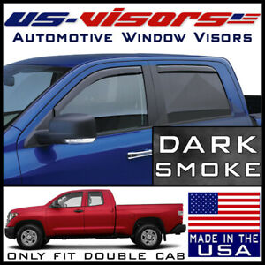 Us visors In channel Window Vent Visors Fits 2007 2019 Toyota Tundra Double Cab