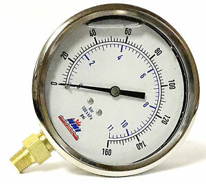 4 Liquid Filled Pressure Gauge Stainless Back 0 160 Psi 1 4 Npt Lower Mount