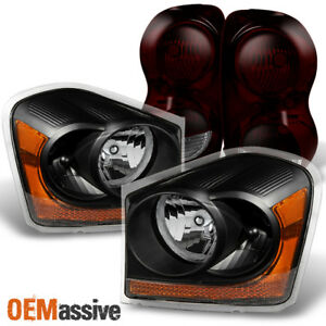 Fit 04 05 Dodge Durango Black Headlights Dark Red Tail Lights Replacement
