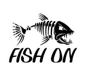 Fish On Skillet Skilleton Decal Car Truck Boat Bumper Window Funny Sticker