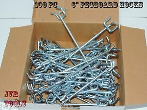 100pcs 6 Peg Board Hooks Shelf Hanger Kit 6 X 1 4 Garage Storage Hanging Set