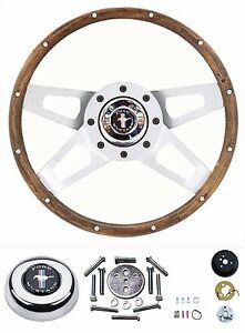 65 66 67 68 69 70 71 Mustang Silver Walnut Challenger Steering Wheel 13 5 Kit