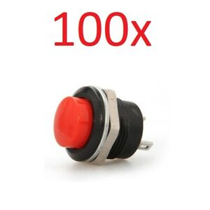 100x Red Momentary On off Push Button Temporary Reset Switch Car Boat Circuit