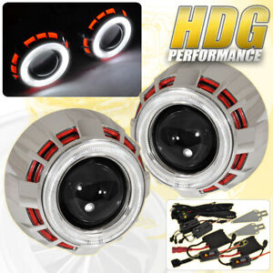For Gmc 2 5 Retrofit Projector Headlights Halo Ring Devil Eye Shrouds Red White