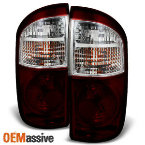 Fits 2004 2006 Tundra Double crew Cab Dark Red Tail Lights Brake Lamps Set