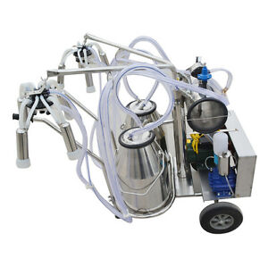 Portable Electric Vaccuum Pump Milking Machine Double Tank For Cows 110v 220v