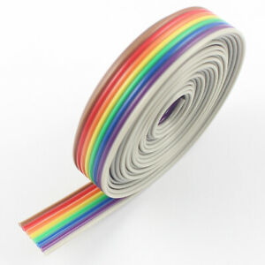 2m Meter 1 27mm Pitch 8 Pin 8 Wire Conductor Rainbow Color Idc Flat Ribbon Cable