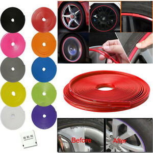 Car Wheel Hub Rim Edge Protector Ring Tire Guard Line Rubber Strip Sticker Kit