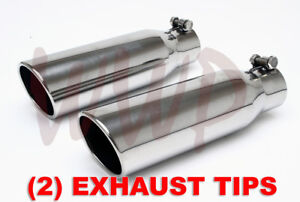 2 Polished Stainless Bolt On Angle Cut Roll Exhaust Tip 3 Inlet 4 Outlet 12 Long