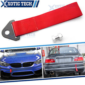 Jdm Red High Strength Racing Tow Strap Front Rear Bumper Hook For Universal Fit