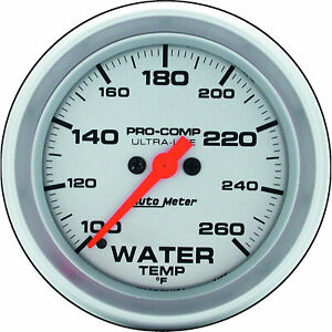 Auto Meter 4455 Water Temperature Gauge 2 5 8 Silver Face Ultra lite Serie