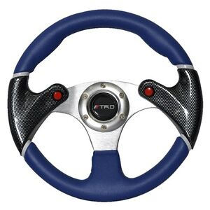320mm 6 Bolts Racing Steering Wheel Blue Pvc Leather Carbon Look W Trd Emblem