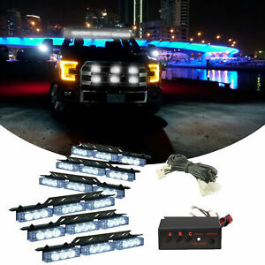 54 Led Blue Car Truck Strobe Emergency Warning Light For Deck Dash Grill Grille