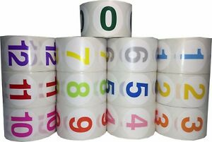 1 5 Round Color Coded Number Stickers 0 12 Bulk Pack