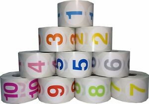 1 5 Round Color Coded Number Stickers 1 10 Bulk Pack