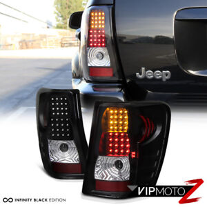 99 04 Jeep Grand Cherokee Black Led Tail Lamps Turn Signal brake Lights Assembly