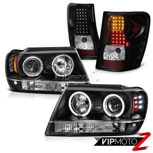 For 99 04 Jeep Grand Cherokee Wj Black Halo Angel Eye Headlights Led Tail Lights