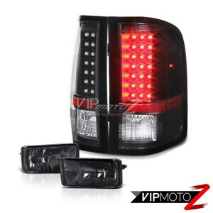 Diamond Black Black Led Tail Lights Smoke Fog Light Chevy 07 14 Silverado 1500