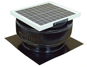 Aura Vent Solar Fan 14 In Exhaust Roof Ventilator 15w 17v 1007 Cfm Black