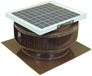 Aura Vent Solar Fan 14 In Exhaust Roof Ventilator 15w 17v 1007 Cfm Brown