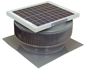Aura Vent Solar Fan 14 Inch Exhaust Roof 15w 17v 1007 Cfm Gray