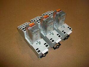 3pc Abb Ice Cube Relay Cr m120ac4 W Cr m4lc Base