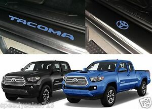 Front Rear Azure Blue Door Sill Vinyl Inserts 2016 2017 Toyota Tacoma New