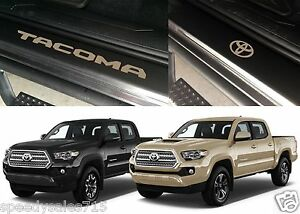 Front Rear Quicksand Tan Door Sill Vinyl Inserts 2016 2018 Toyota Tacoma New