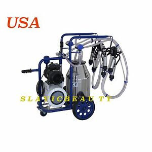 Cow Milker Electric Milking Machine X 2 Cows Vacuum Pump 304l Stainless