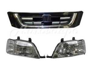 For 1997 2001 Honda Cr V Crv Headlight Grille Black W Chrome Molding 3pcs