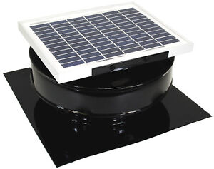 Round Back Attic Roof Vent Solar Fan 8 In 5w 12v 365cfm Active Ventilation Black