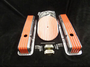 S B Chevy Short Orange Fin Val Cover Fin Breather Kit Cr X075