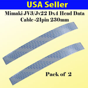 2x Data Cable For Mimaki Jv3 Jv22 Epson Dx4 Print Head 21 Pin 23 Cm Usa Seller