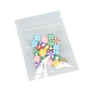100 Small Glossy Flat Clear white Poly Zip Lock Bags 6 5x9cm 2 5x3 5