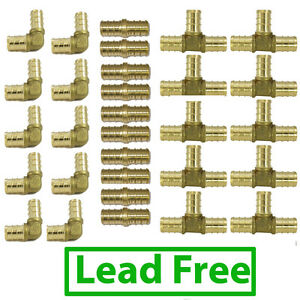 3 4 Lead Free Brass Pex Fittings Elbow Coupler Tee