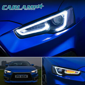 Led Headlights For Mitsubishi Lancer Evo X 2008 2017 Dual Beam Audi Style