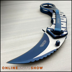 8quot; Blue Assisted Opening Folding Pocket Knife Karambit Claw Tactical Blade NEW $14.95