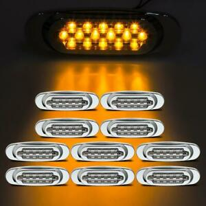 10x 6 5 Clear amber Led Oval Clearance Marker Light 16 Diodes For Freightliner