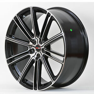 4 Gwg Wheels 20 Inch Black Machined Flow Rims Fits Et38 Nissan Maxima