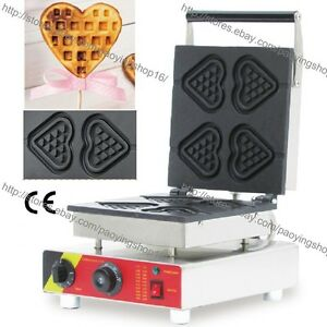 Commercial Nonstick Electric Hearts Waffle On A Stick Maker Iron Baker Machine