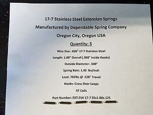 Extension Springs 17 7 Stainless Steel Lot Of 5 Length 1 Inch X 125 Od 1 8