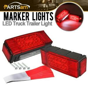Pair Over 80 Led Submersible Combination Trailer Boat Stop Turn Tail Lights Red