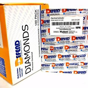Diamond Burs Flat End Cylinder 835 012m Medium Blue 10x 10 pk Bur 100 Total